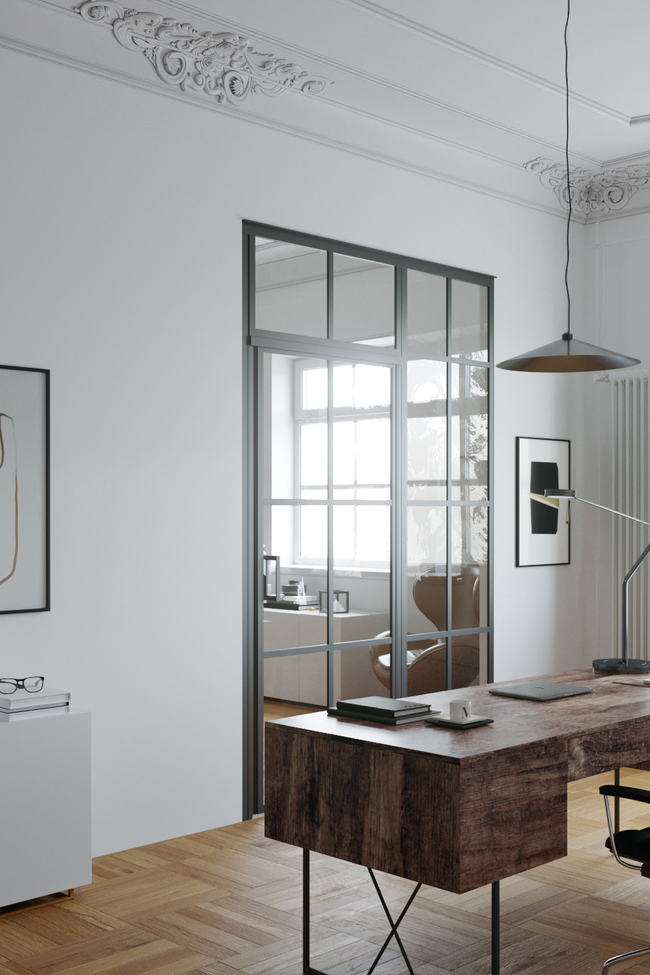 Glass wall with fixed panel on hinge side and upper window Bläk 720 Paris