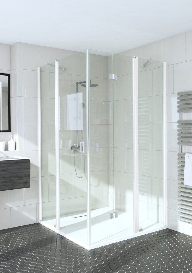 Shower enclosure with a hinged and a folding door with fixed parts Fenic 365 (314x315)