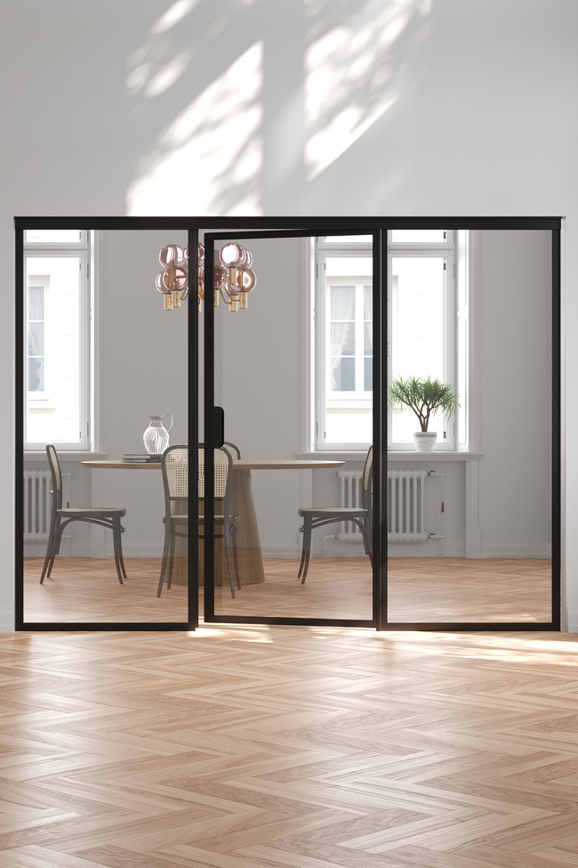 Glass wall with fixed panels on hinge and handle side Bläk 774 New York