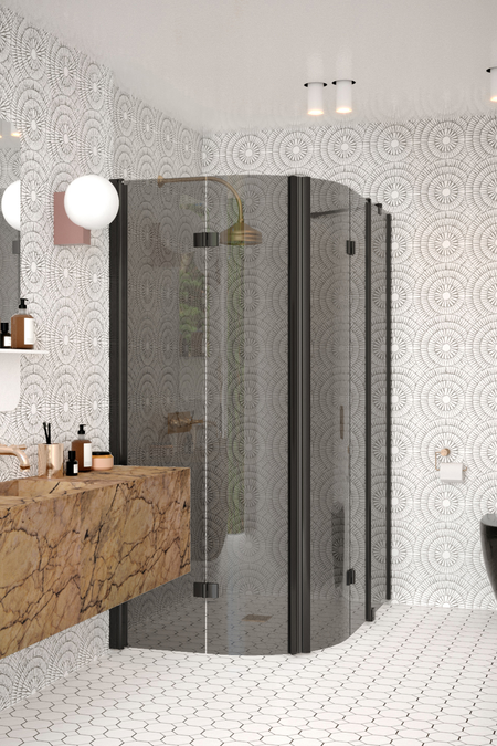 Curved shower enclosure with folding doors one of which has a fixed part Infinia 275 (223x225)