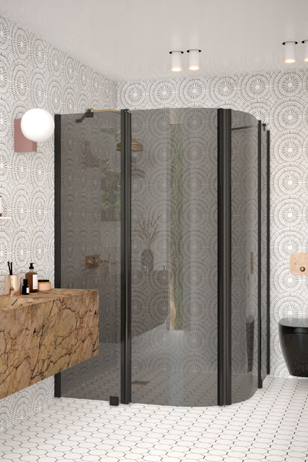Curved shower enclosure with hinged doors with fixed parts Infinia 276 (224x224)