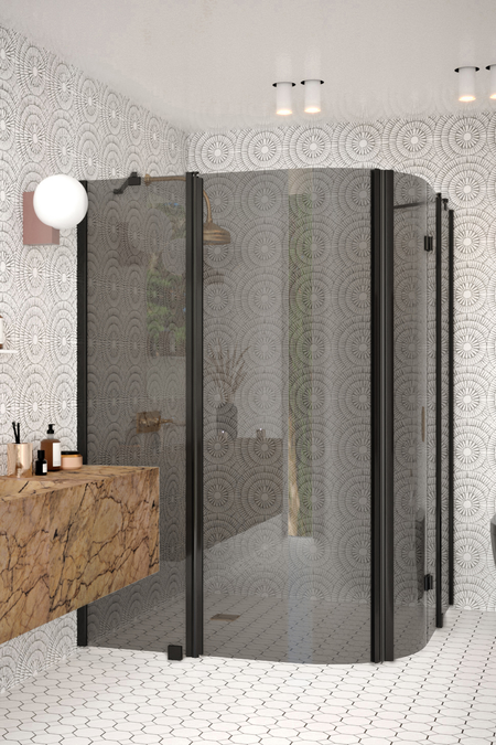 Curved shower enclosure with a hinged and folding door with fixed parts Infinia 277 (224x225)