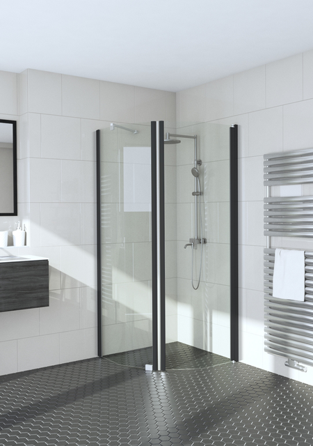 Bevelled shower enclosure with a fixed wall and hinged door Infinia 231x232