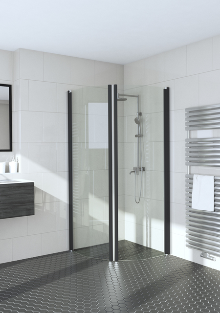 Bevelled shower enclosure with hinged doors Infinia 232x232