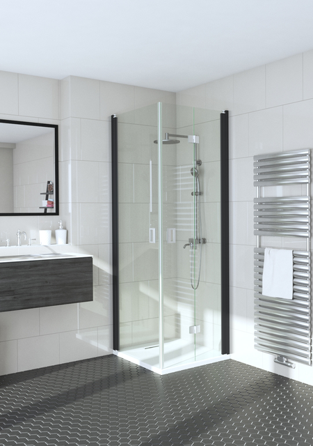 Shower enclosure with a hinged door and a folding door Fenic 358 (312x313)