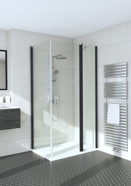 Shower enclosure with hinged doors one of which has a fixed part Fenic 359 (312x314)
