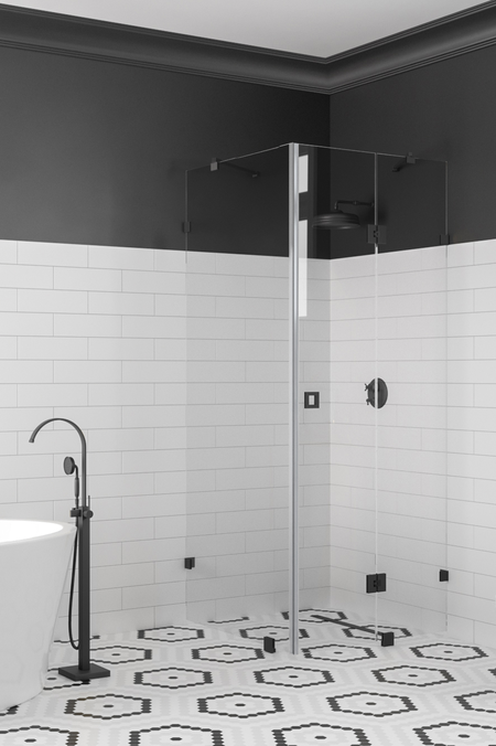 Shower enclosure with a fixed wall and a hinged door with a fixed part Vetro 542 (511x514)