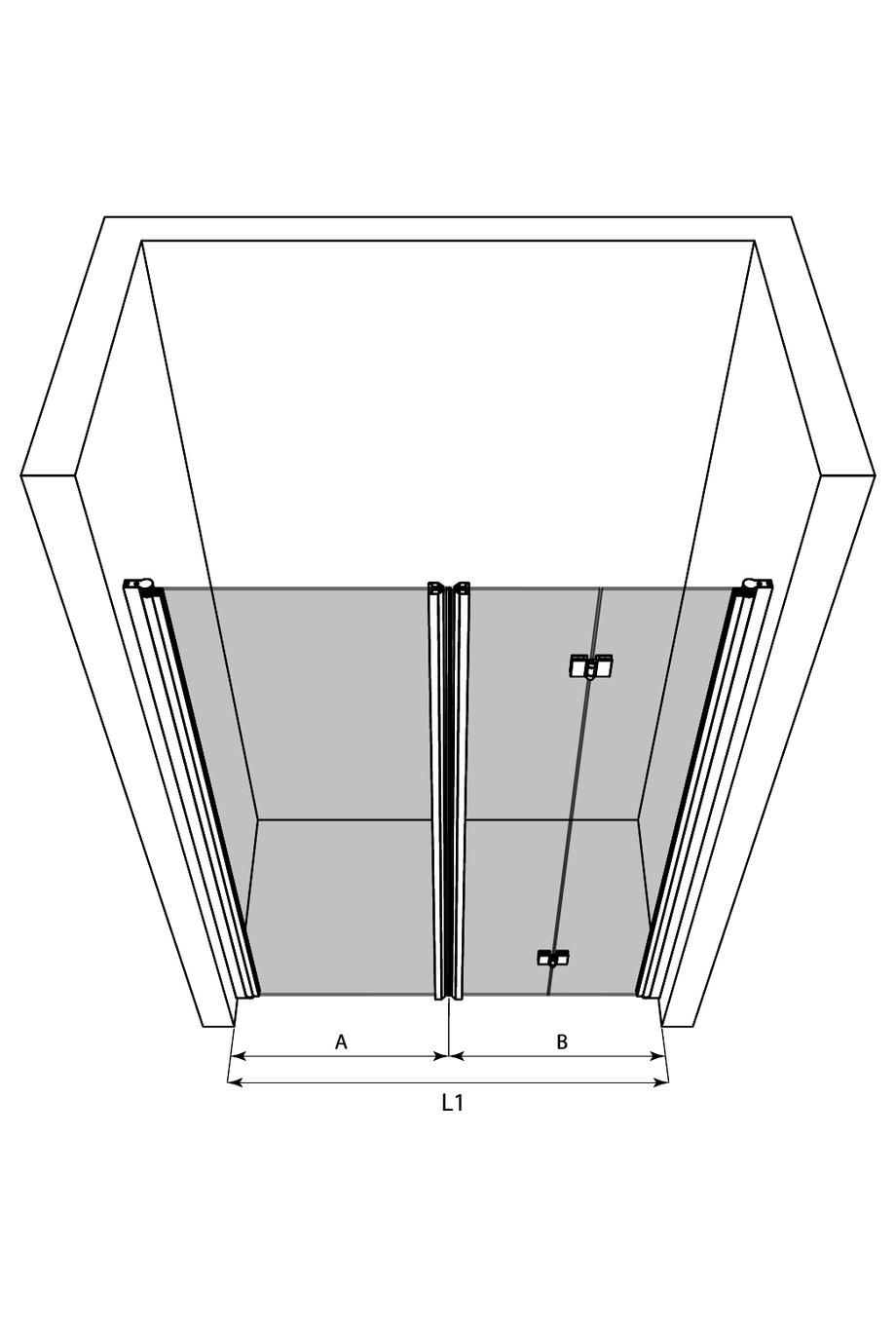 3d Alcove fitting with a hinged and a folding door Infinia 242 (212+213)