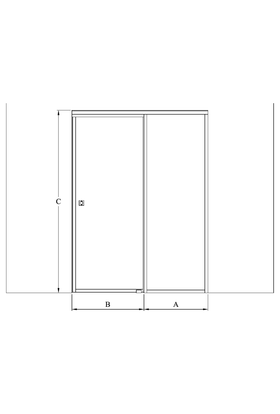 2d Sliding door with soft closing mechanism and fixed wall Bläk 863 New York